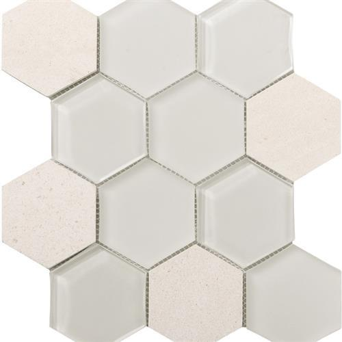 Metropolitan Stone  Glass Blend Chablis - Honed Hex
