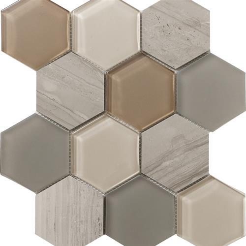 Metropolitan Stone  Glass Blend Dune - Polished Hex