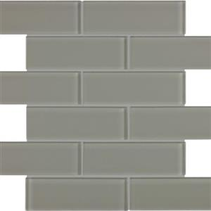 GlassTile Element ANAELEMSMO26 Smoke-StaggeredMosaic