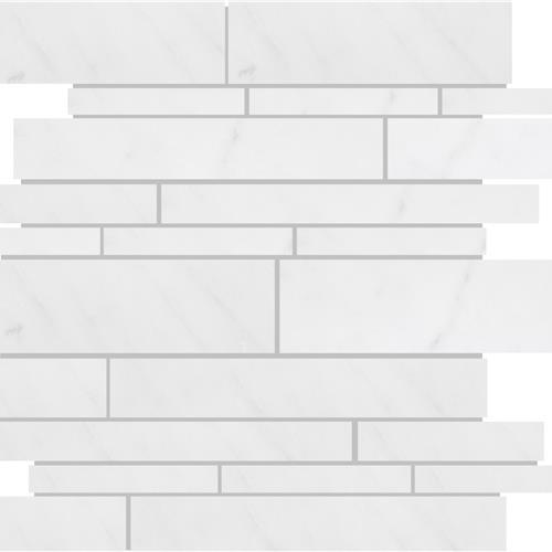 Bianco Neve Polished Random Linear Mosaic
