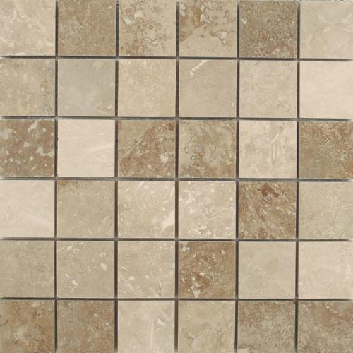 Travertino Mix Honed  Filled Mixed 2X2 Mosaic