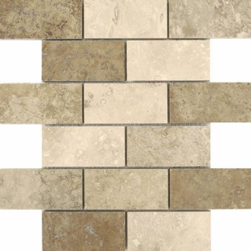Travertino Mix Honed  Filled Mixed 2X4 Staggered Mosaic