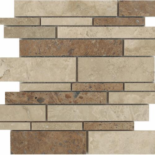 Travertino Mix Honed  Filled Mixed Random Linear Mosaic