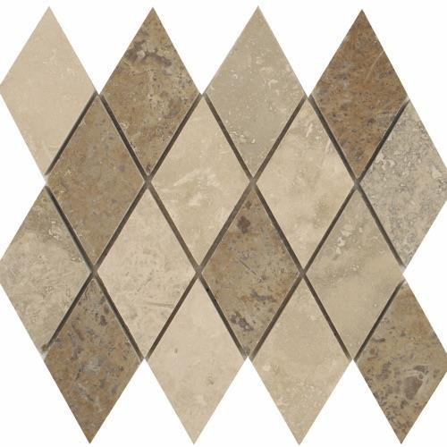 Travertino Mix Honed  Filled Mixed Rhomboid Mosaic