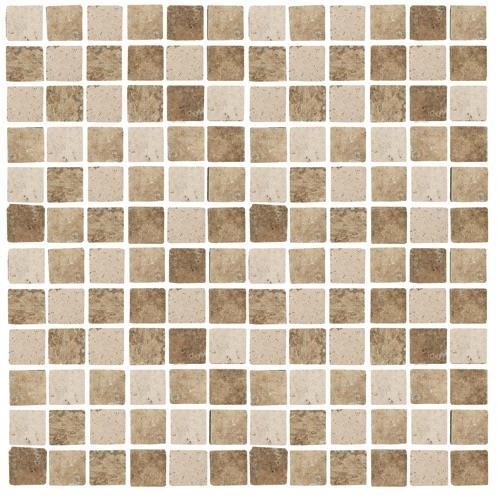 Travertino Mix Tumbled Mixed 1X1 Mosaic