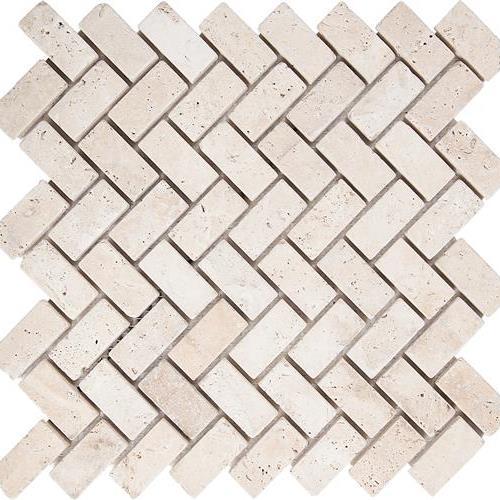 Ivory Tumbled Herringbone Mosaic