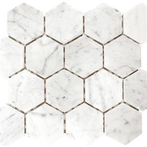 NaturalStone Carrara PATARASCAR3HX Polished3HexagonMosaic