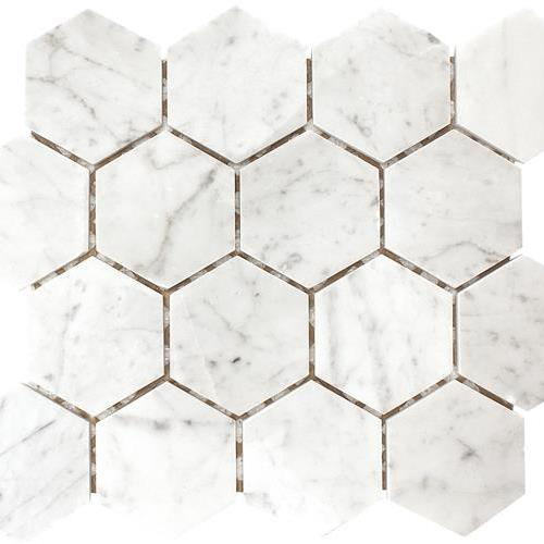 Carrara Polished 3 Hexagon Mosaic