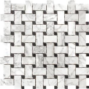 NaturalStone Carrara PATARASCARBAS WhiteBasketweaveMosaic