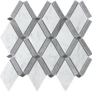 NaturalStone Metropolitan-BlendsCollection FOSMETRBDDCABABL DiamondCararraBardiglioBandAndBlackDot