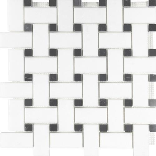 Metropolitan - Blends Collection Basketweave Thassos With Black Dot