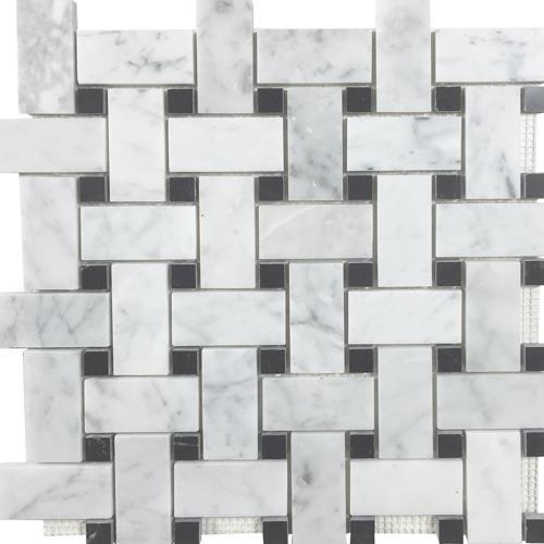 Metropolitan - Blends Collection Basketweave White Cararra With Black Dot