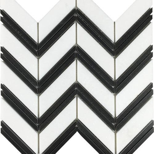 Metropolitan - Blends Collection Chevron Thassos With Black Bands