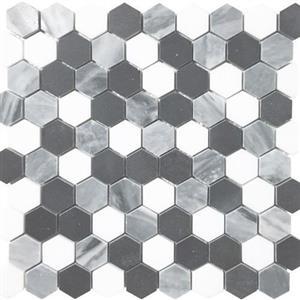 NaturalStone Metropolitan-BlendsCollection FOSMETRHEXTHBABL HexagonThassosBardiglioAndBlack