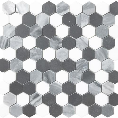 Metropolitan - Blends Collection Hexagon Thassos Bardiglio And Black