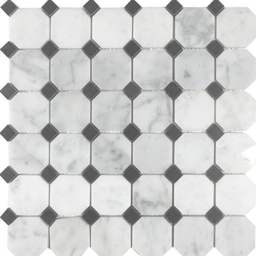 Metropolitan - Blends Collection Octagon White Cararra With Black Dot