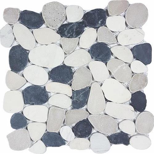 Ocean Stones  Black White Tan Sliced
