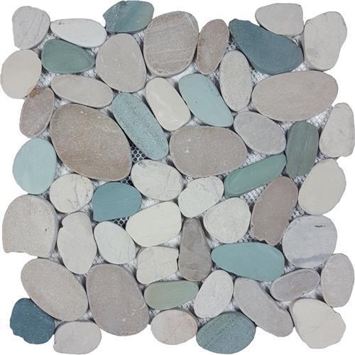 Ocean Stones  White Green Tan Sliced