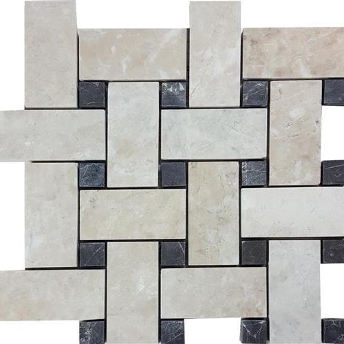 Cashmere Beige Brushed Basketweave Mosaic