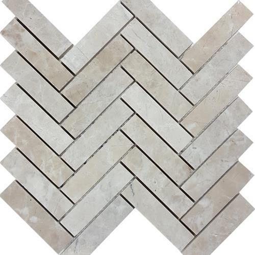 Cashmere Beige Brushed Herringbone Mosaic
