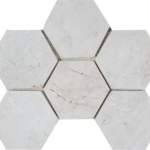 Imperial Pearl Brushed 4 Hexagon Mosaic