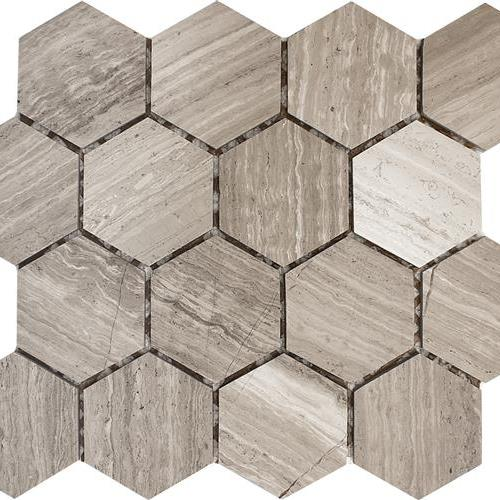 Wooden Gray Polished 3 Hexagon Mosaic
