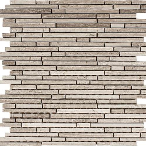 Wooden Gray Polished Random Linear Strip Mosaic