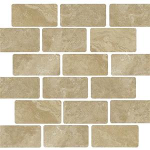 NaturalStone Beige TRMOWTMBE24 TumbledStaggered2x4Mosaic
