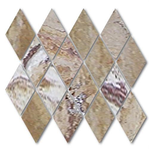 NaturalStone Venetian Square Edged Brushed Rhomboid (Small Diamond) Mosaic Sheet  main image