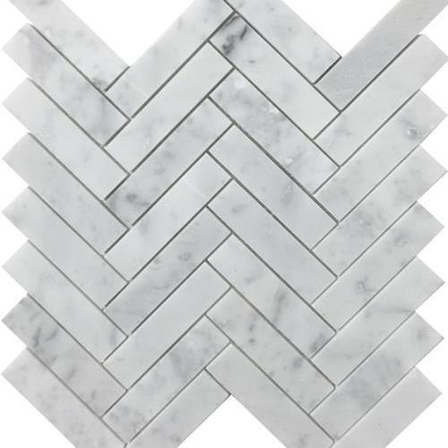 Metropolitan - Stone White Cararra Honed Herringbone