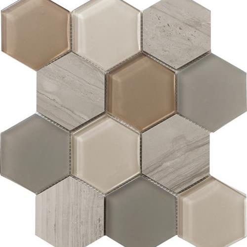Metropolitan - Stone  Glass Dune Polished Hex