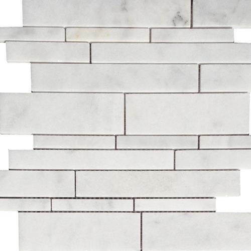 Bianco Venato Brushed Random Linear Mosaic