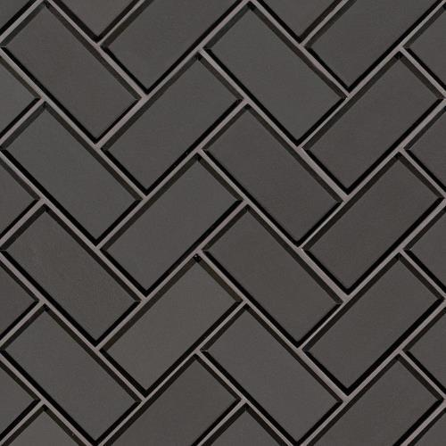 Metallic Gray Bevel Herringbone