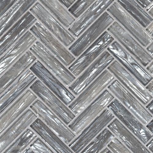 Shimmering Silver Herringbone