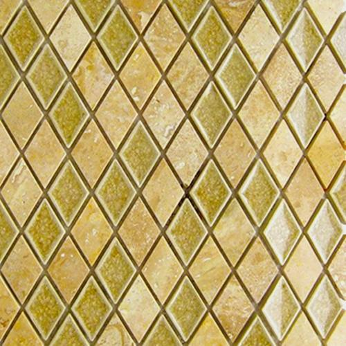 GLASS AND STONE Art Glass Travertine Diamond