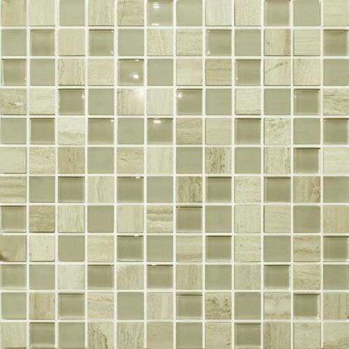 GLASS AND STONE Wooden White Marble  Glass Random Strip