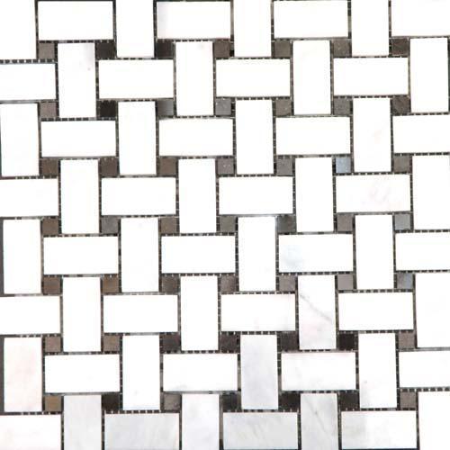 CARRARA MARBLE 1X2 Carrara Basketweave Mosaic Polished