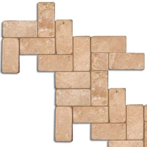 TRAVERTINE 1X2 Herringbone Mosaic Cream