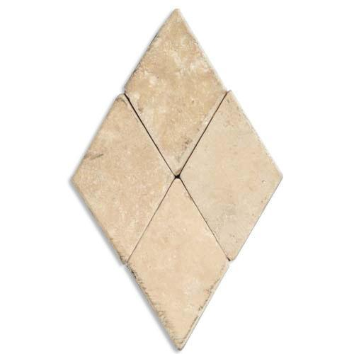 TRAVERTINE 2X2 Diamond Mosaic Cream