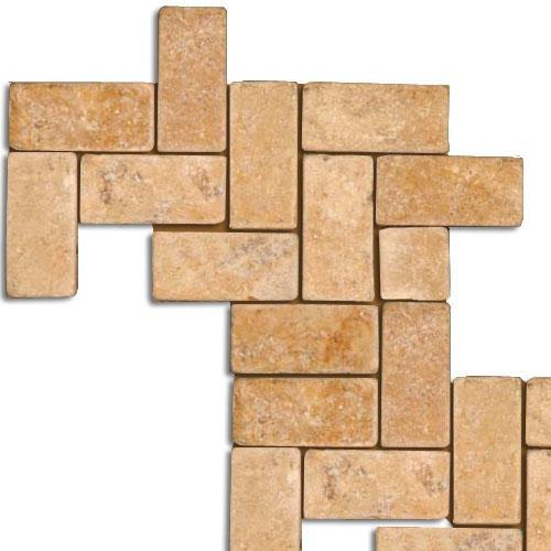 TRAVERTINE 1X2 Herringbone Mosaic Gold