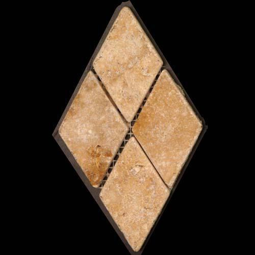 TRAVERTINE 2X2 Diamond Mosaic Gold
