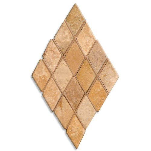 TRAVERTINE 1X1 Mini-Diamond Mosaic Gold