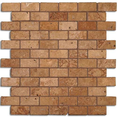 TRAVERTINE 1X2 Brick Mosaic Noce