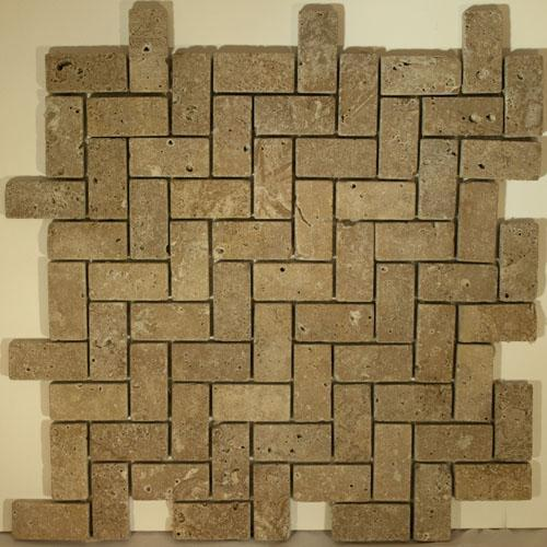 TRAVERTINE 1X2 Herringbone Mosaic Noce