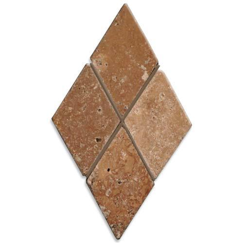 TRAVERTINE 2X2 Diamond Mosaic Noce