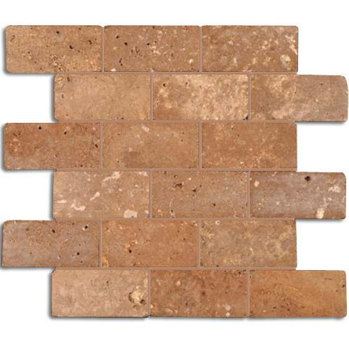 TRAVERTINE 2X4 Brick Mosaic Noce