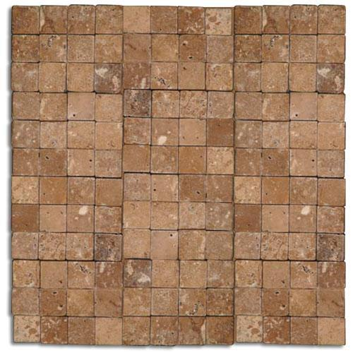 TRAVERTINE 1X1 Downtown Mosaic Noce