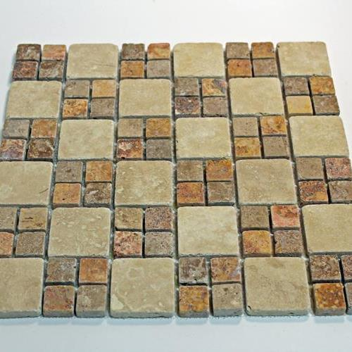 Natural Stone Mosaic Tile 2X2 Mocha/1X1 Multi Color Square