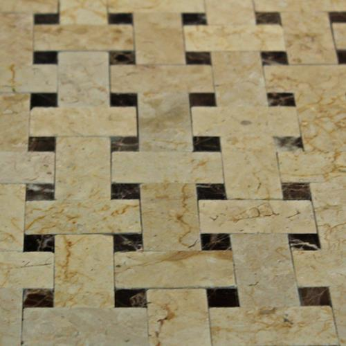 Natural Stone Mosaic Tile Mini Basket Weave Desert Cream/Dark Emperador