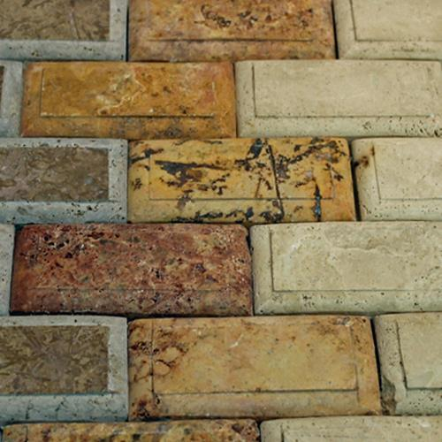 Natural Stone Mosaic Tile 2X4 Subway Multicolor Relieve